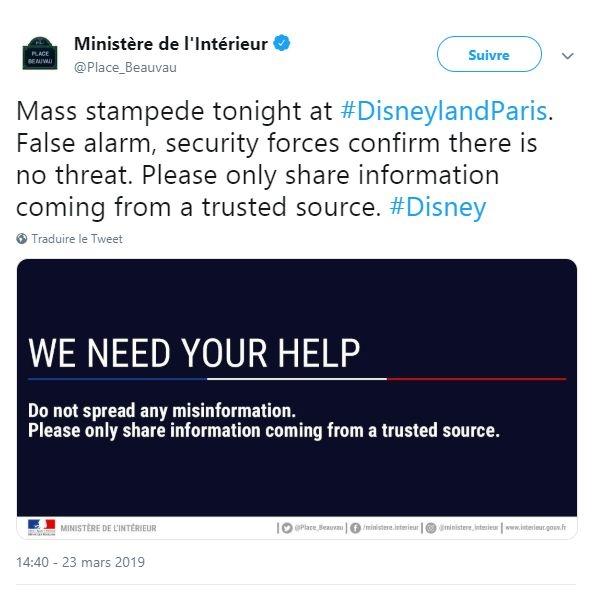 Communiqué twitter Ministère de l'Intérieur